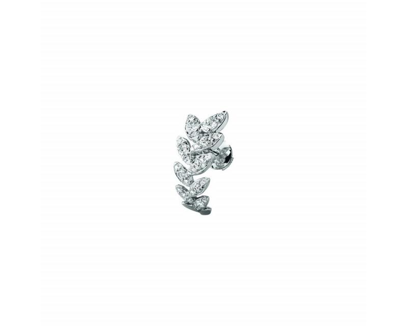 FROJO Boucles d'oreille or gris feuilles pavées diamants