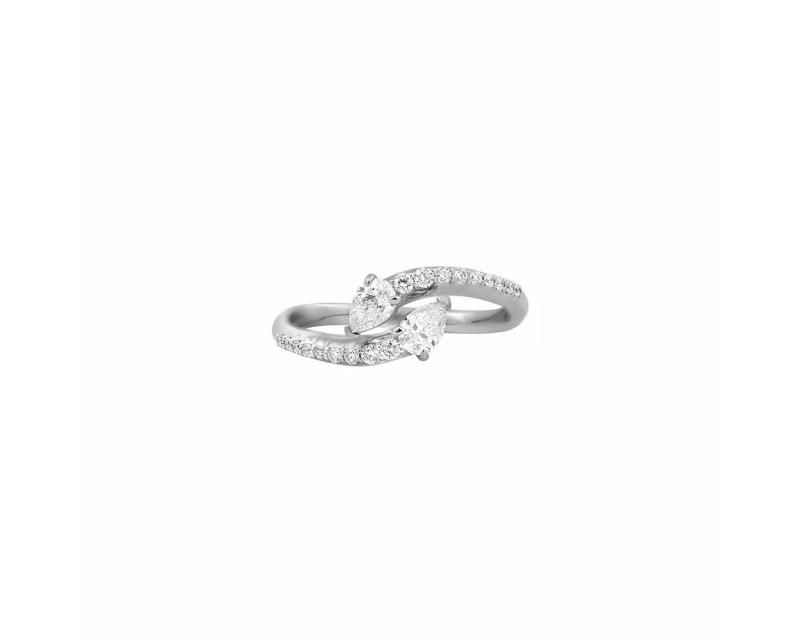 Bague or blanc Toi & Moi diamants taille poire monture pavée diamants