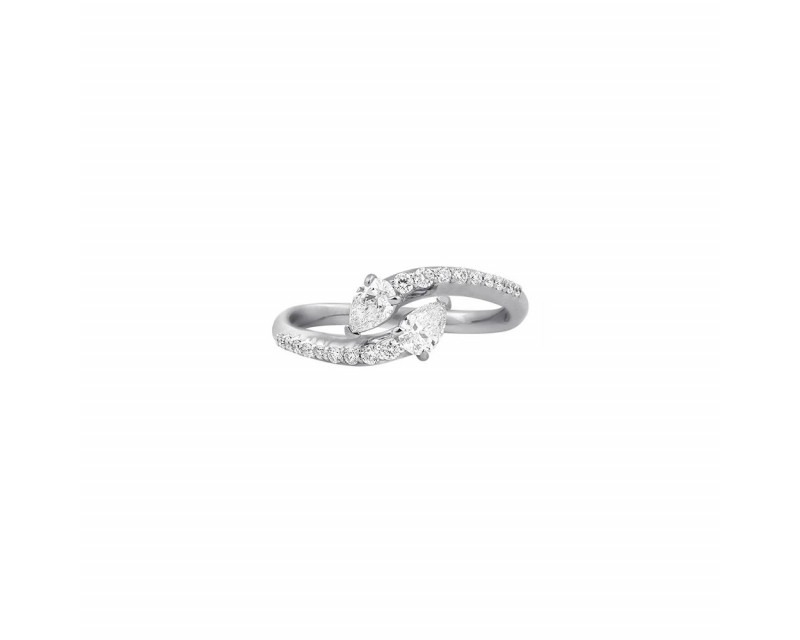 FROJO Bague or gris toi & moi diamants poires 0,40ct monture pavée diamants 0,20ct GSI