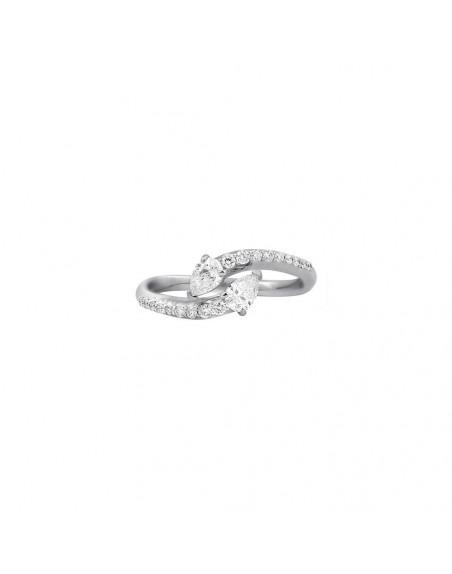 Bague or gris toi & moi diamants poires 0,40ct monture pavée diamants 0,20ct GSI