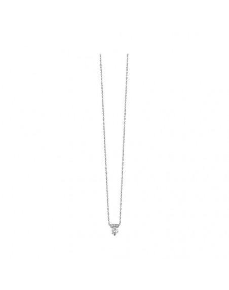 Pendentif or gris diamants 0,19ct GSI