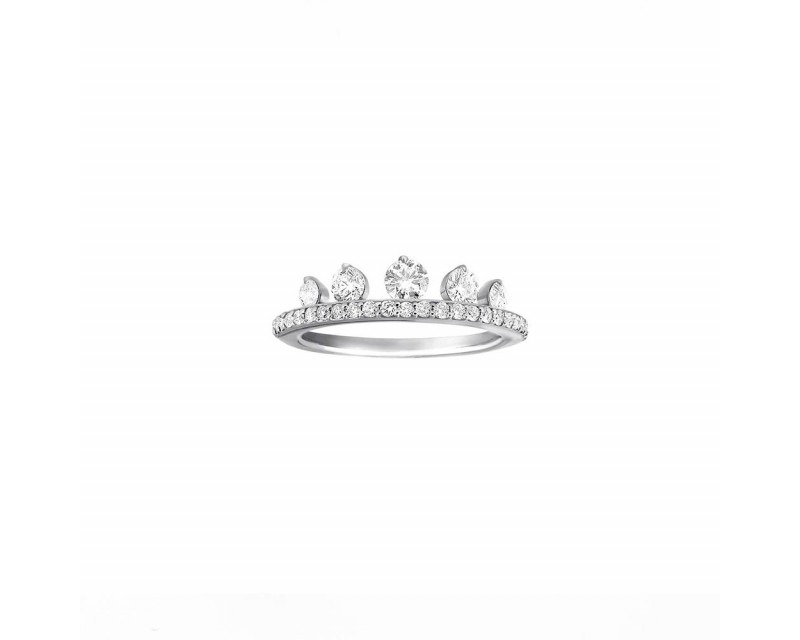 FROJO Bague Princess or gris 5 diamants + pavage brillants