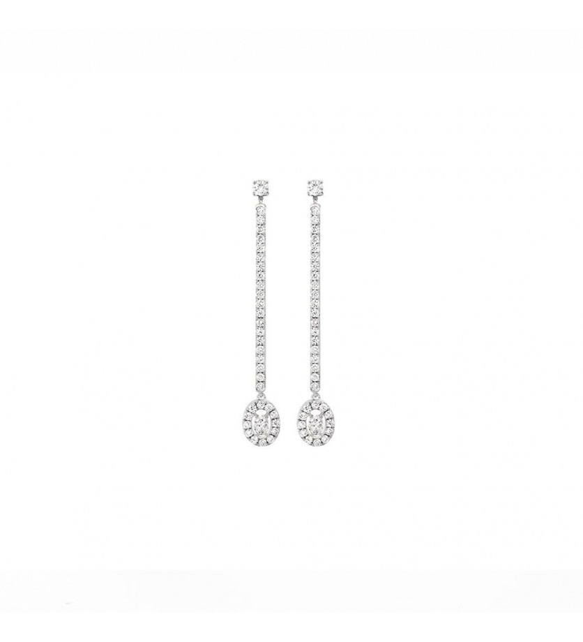 Boucles d'oreille pendantes Glam'Azone or blanc diamants
