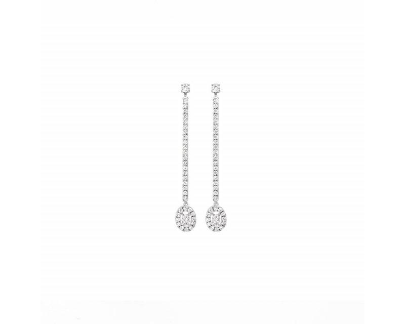 Boucles d'oreille pendantes Glam'Azone or blanc diamants