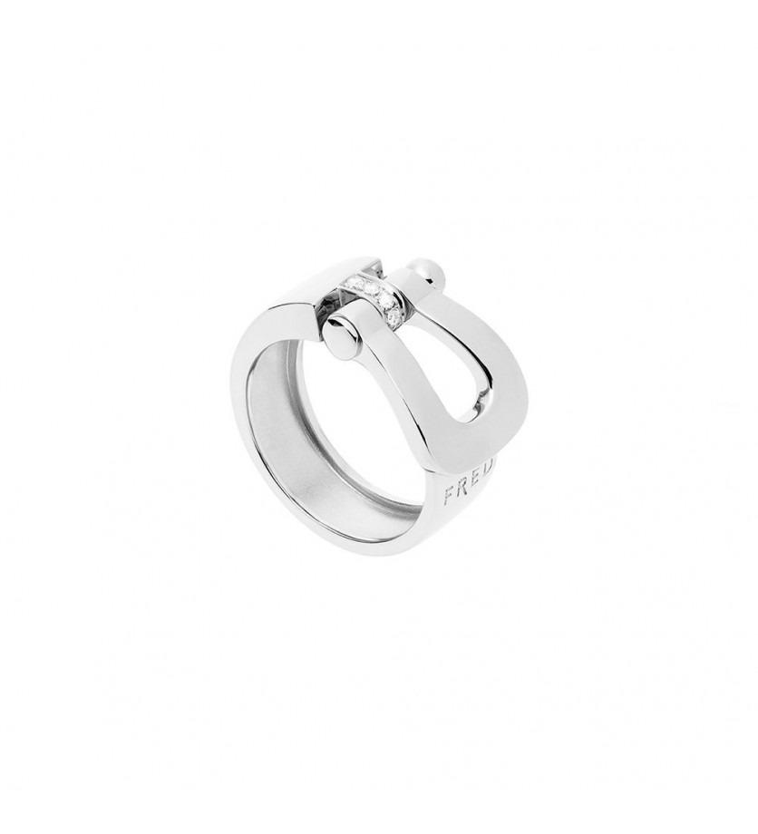 Bague Force 10 ruban grand modèle or gris semi pavé diamants