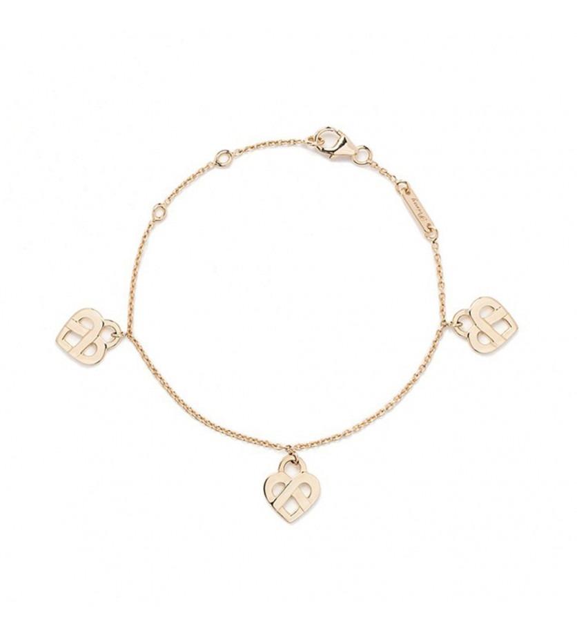 POIRAY Bracelet Coeurs Entrelacés or jaune 3 coeurs 17cm