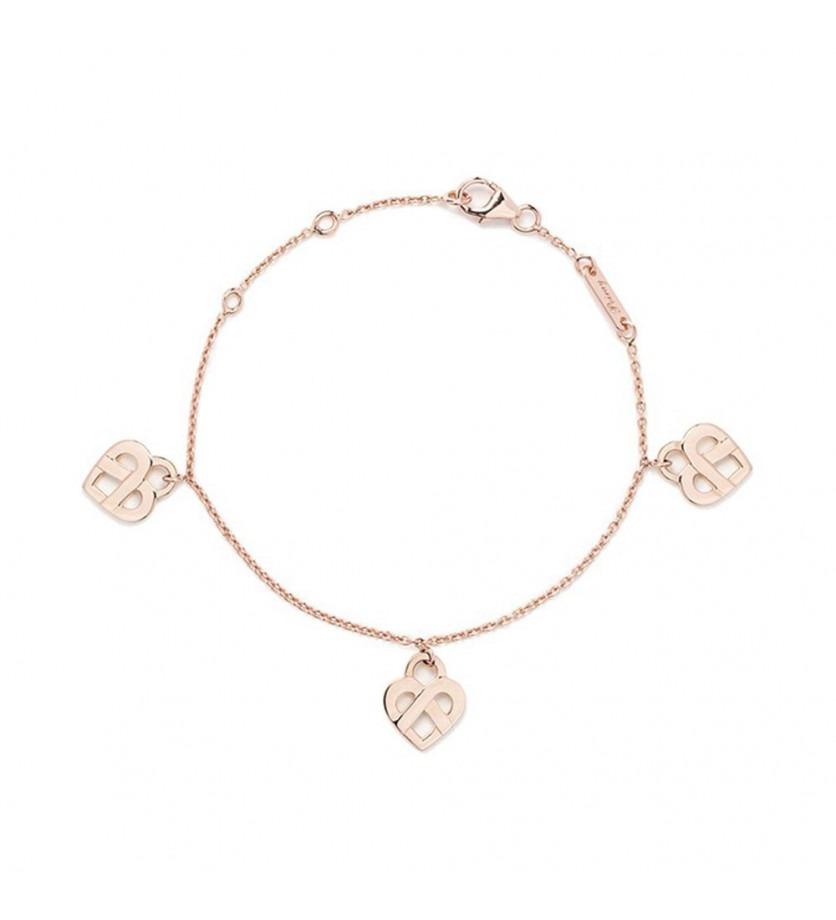 Bracelet Coeurs Entrelacés or rose 17cm