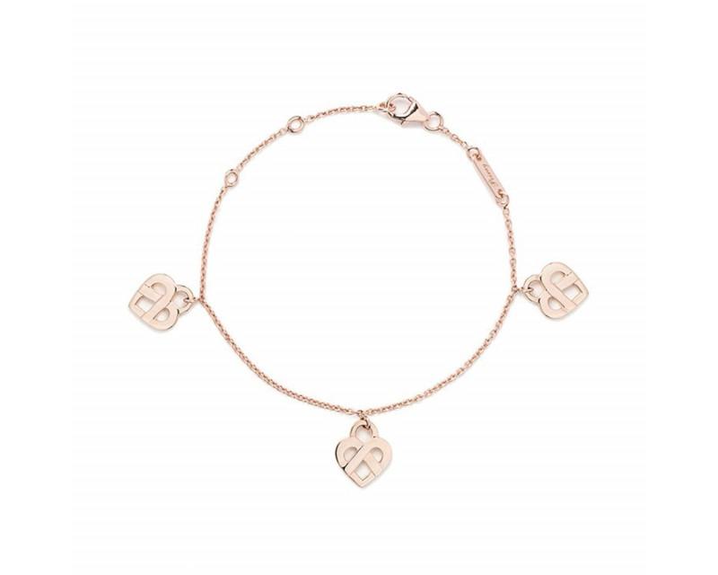 POIRAY Bracelet Coeurs Entrelacés or rose 3 coeurs 17cm