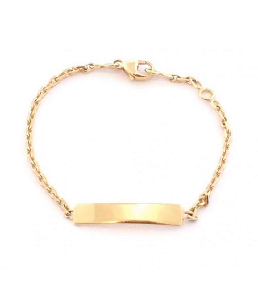 Bracelet identité bébé or jaune plaque rectangle chaine forçat diamanté