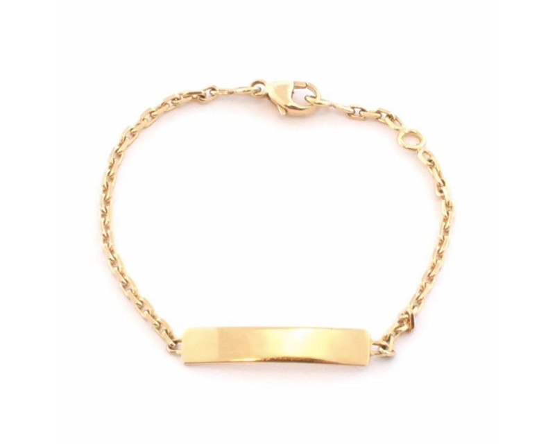 FROJO Bracelet identité bébé or jaune plaque rectangle chaine forçat diamanté 2mm 13,5cm