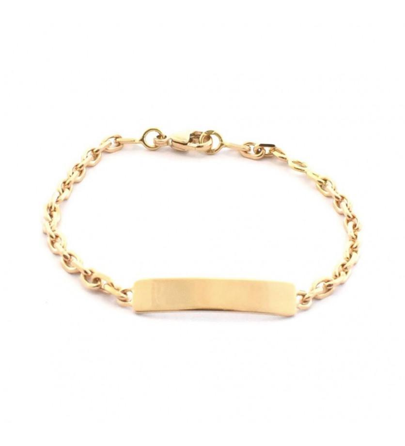 FROJO Bracelet identité bébé or jaune plaque rectangle sans étrier 2.8mm sur chaine forçat limé 13