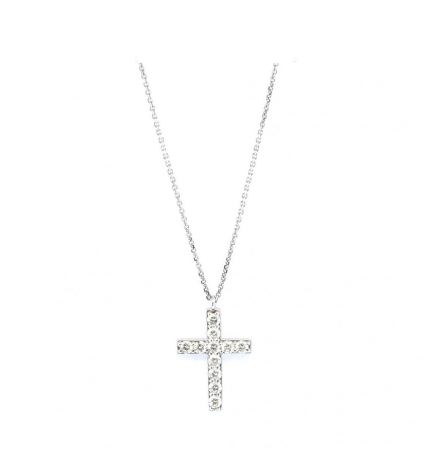 Pendentif croix en or rose sur chaîne diamants 0,33ct GSI