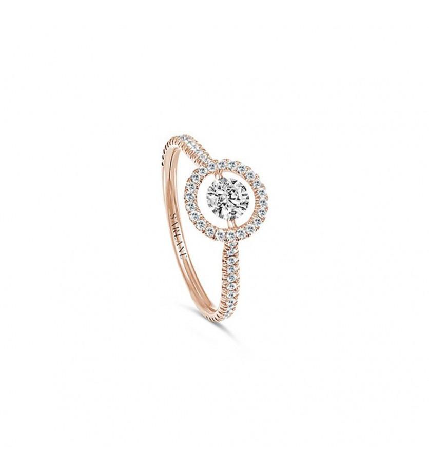 Solitaire Entourage or rose diamant centre 0.10ct FSI1 pavage 0.26ct