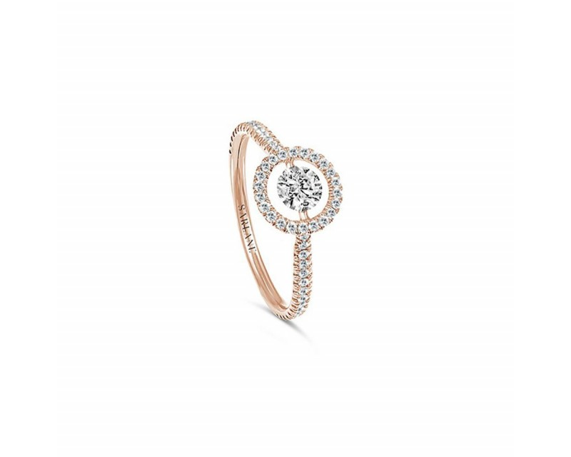 SARLANE Solitaire Entourage or rose diamant centre 0.10ct FSI1 pavage 0.26ct