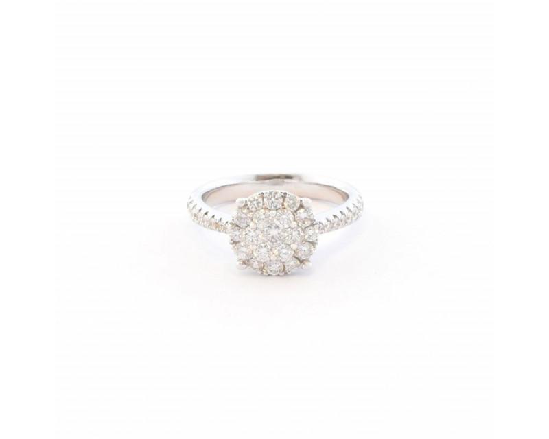 Bague or gris centre rond diamants corps diamants