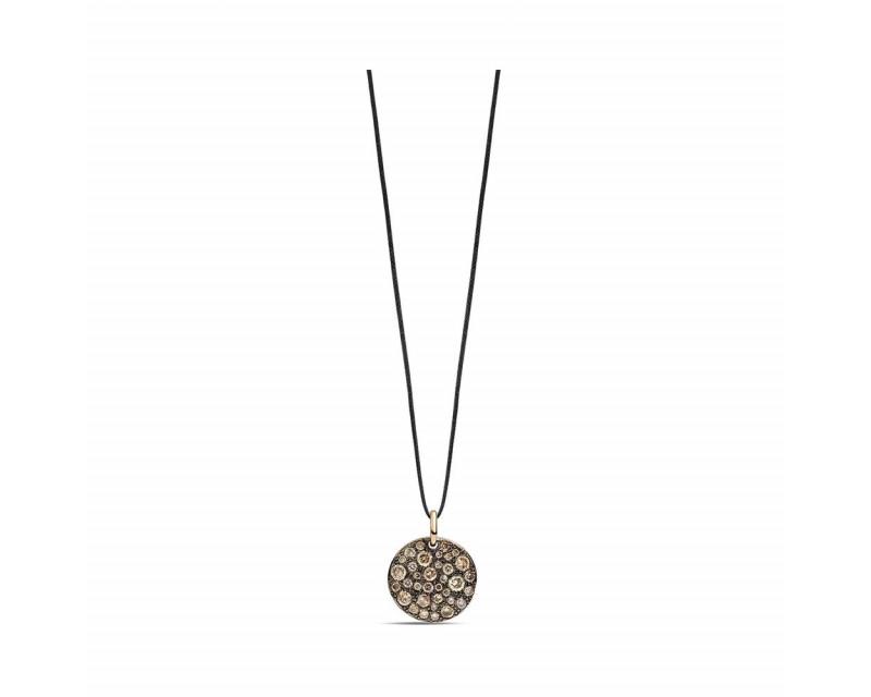 Pendentif Sabbia or rose diamants bruns