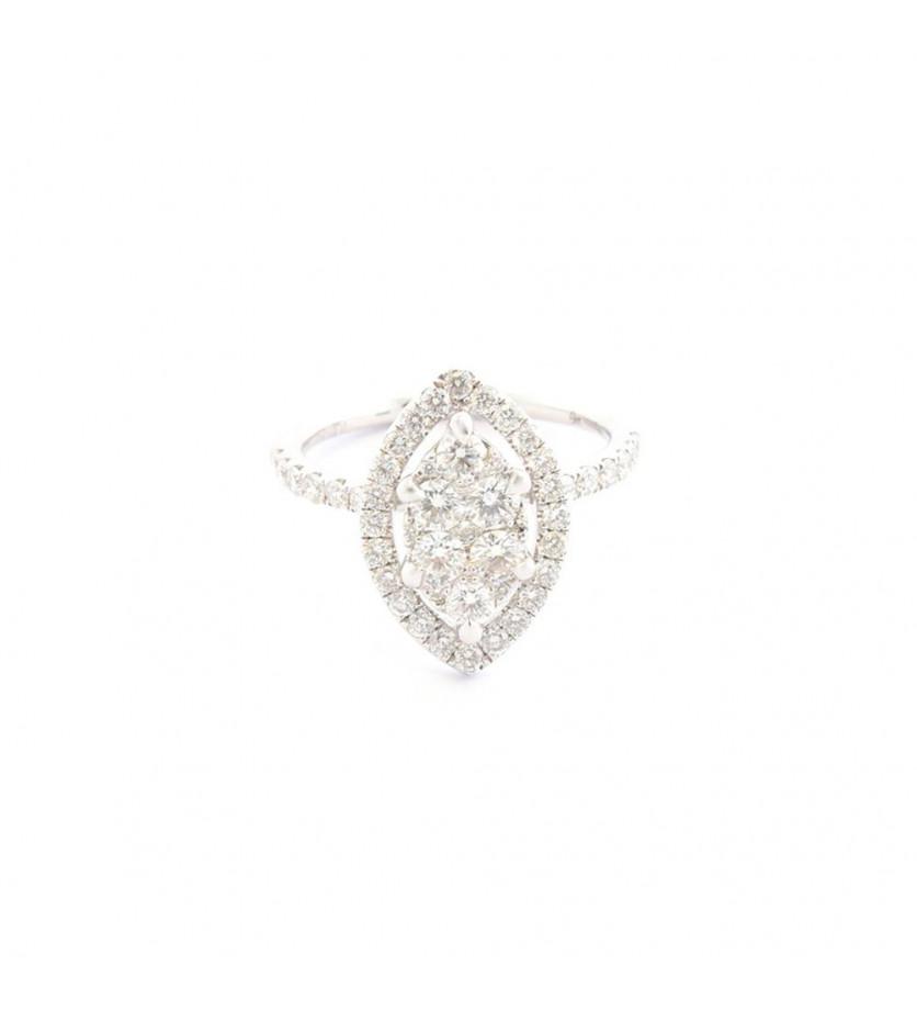 FROJO Bague or gris centre navette entourage et corps diamants