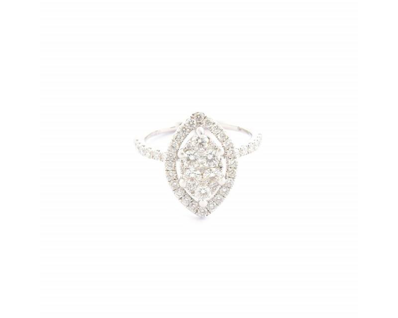 Bague or gris centre navette entourage et corps diamants