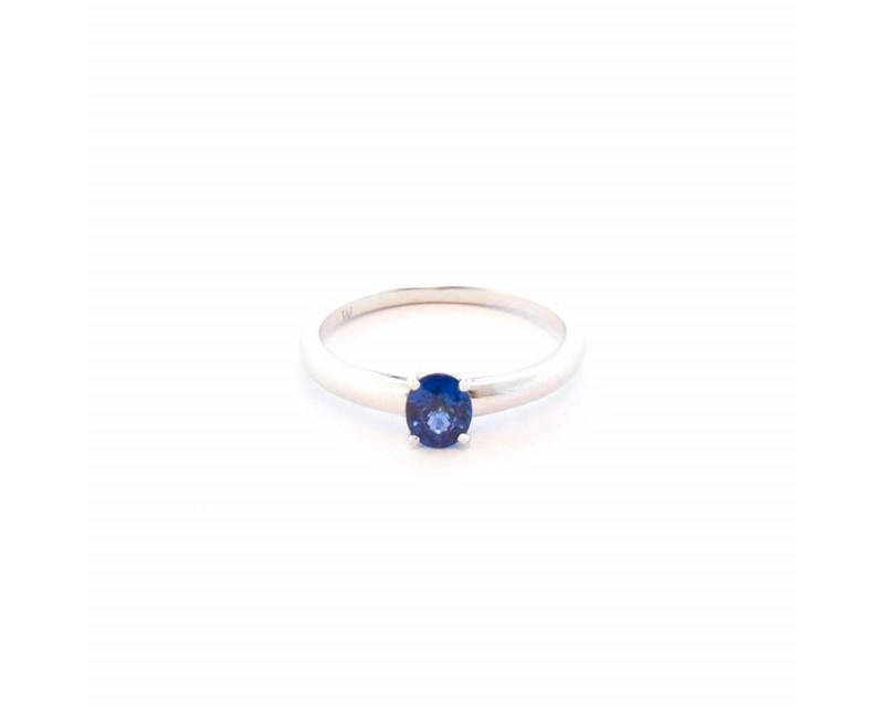 FROJO Bague or blanc pierre de centre saphir bleu