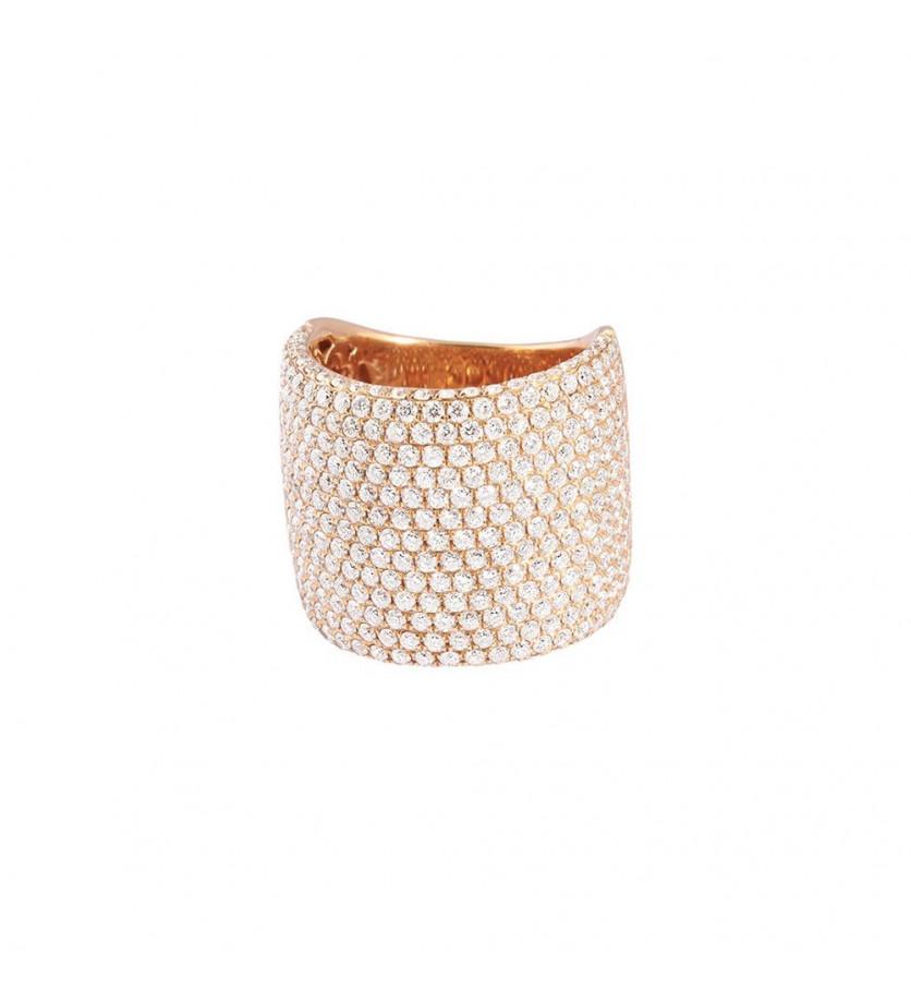 Bague large or rose pavée diamants