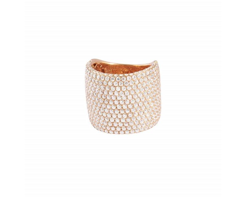 FROJO Bague large or rose pavée diamants