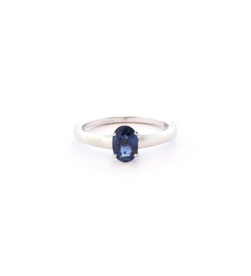 Bague or blanc pierre de centre saphir bleu ovale