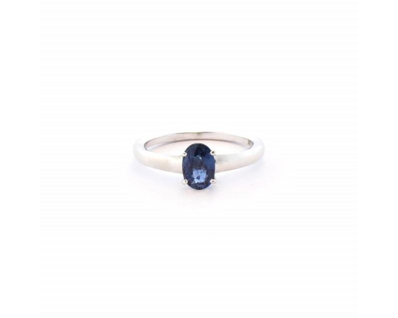 FROJO Bague or blanc pierre de centre saphir bleu ovale