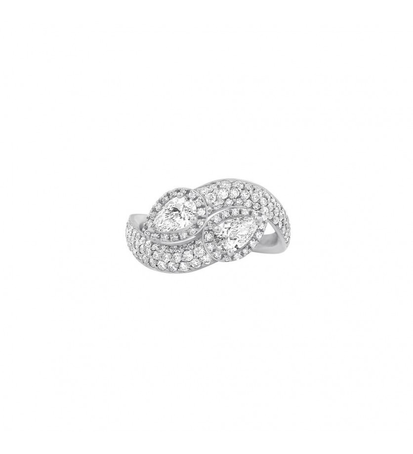 Bague or blanc 2 pierres de centre diamants