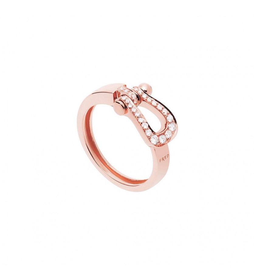 FRED Bague Force 10 Ruban MM or rose full pavée diamants