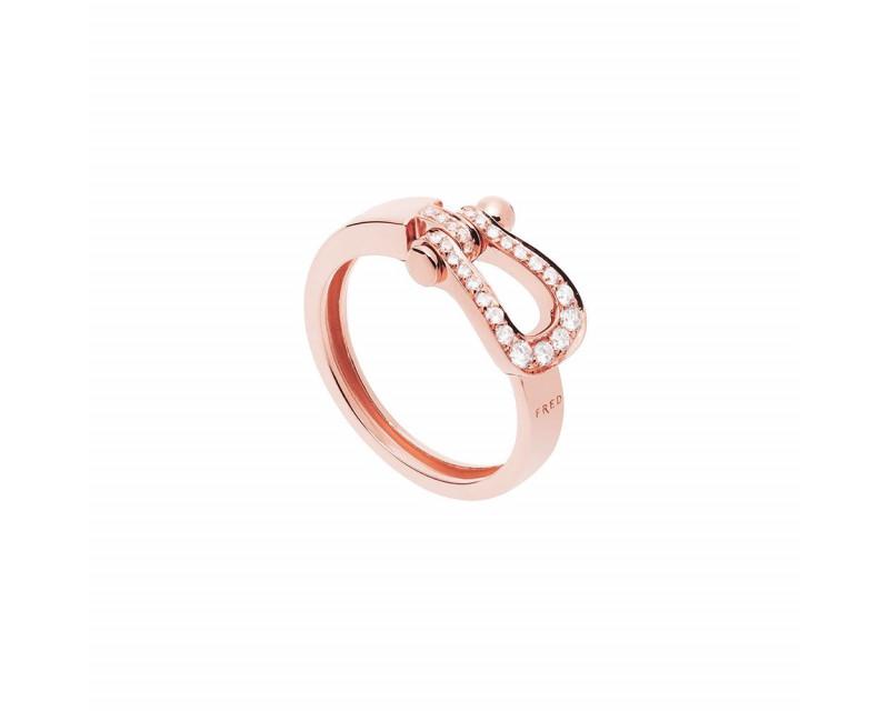 Bague Force 10 Ruban MM or rose full pavée diamants
