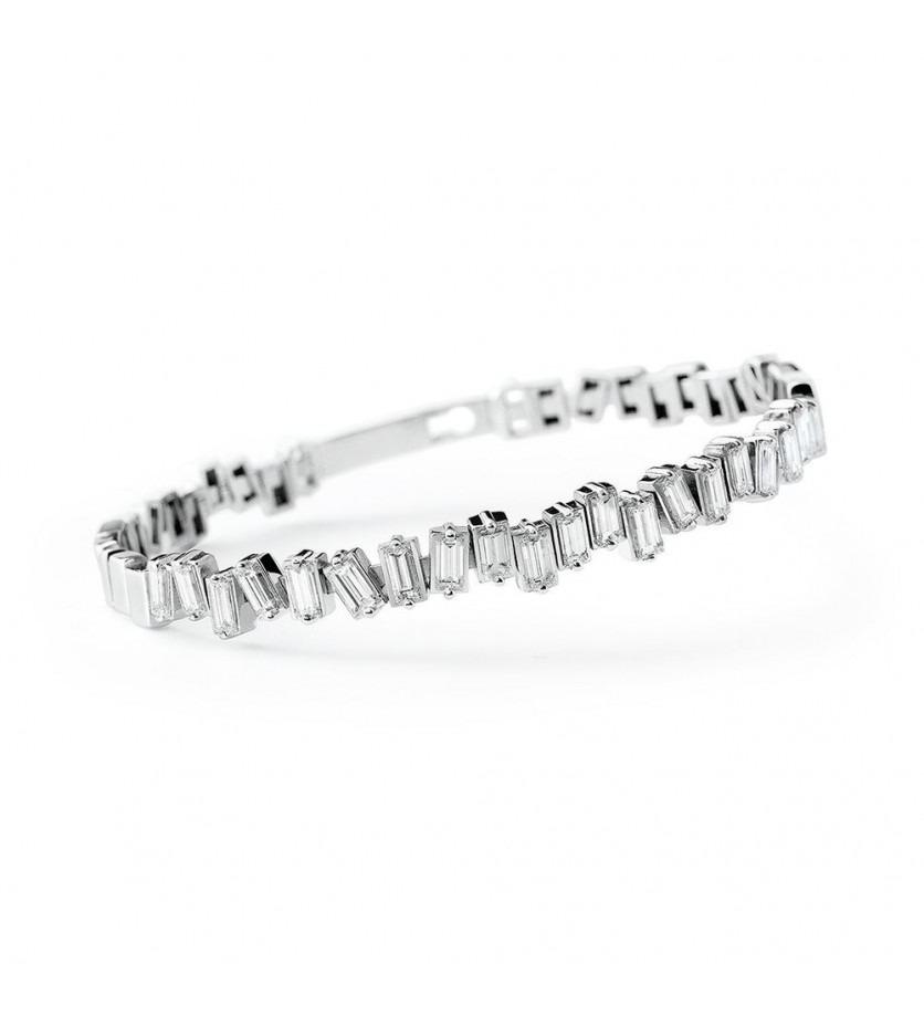 Bracelet Chelsea rigide diamants taille émeraudes 55x45