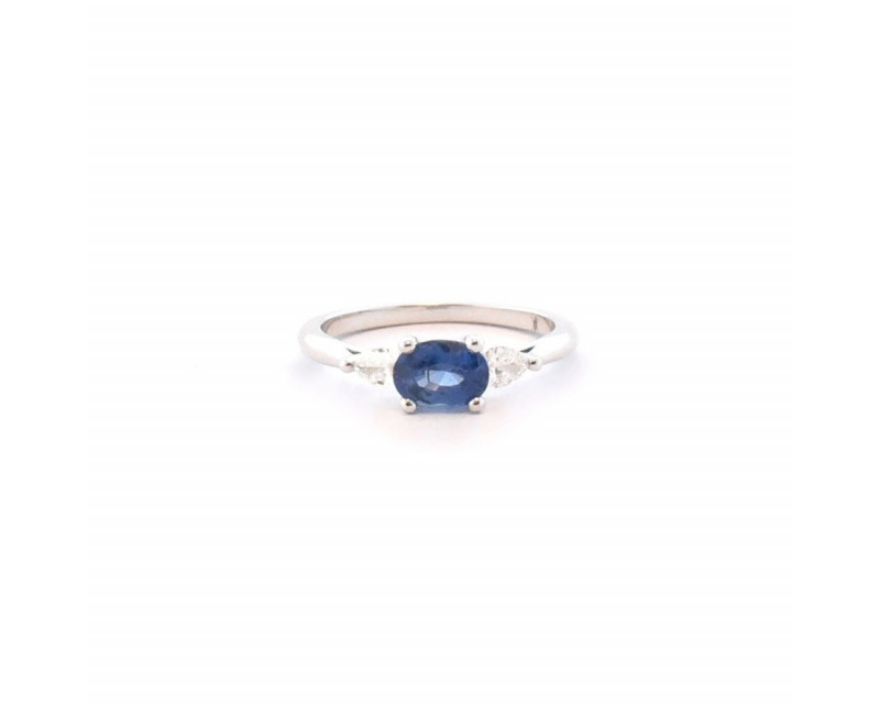 FROJO Bague or blanc saphir bleu ovale 0,82ct diamants poire 0,22ct