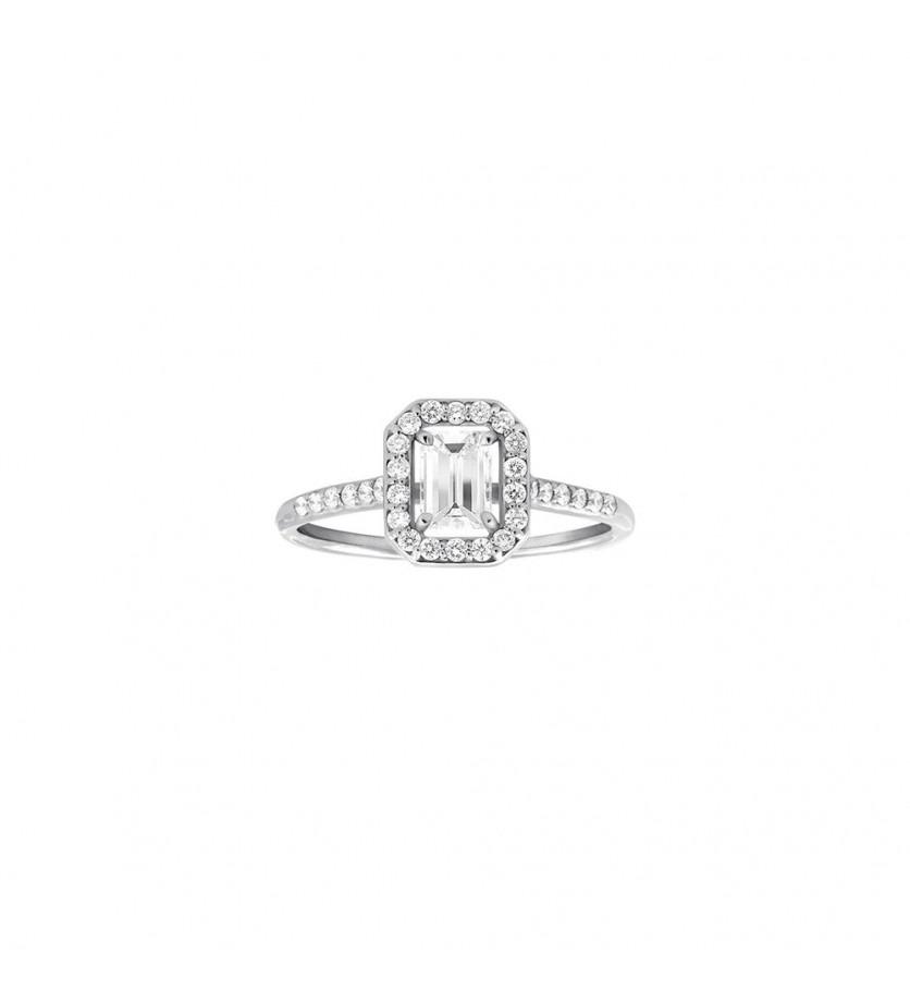 FROJO Bague or gris diamant taille émeraude 0,40ct entouarge diamant 0,30ct GSI