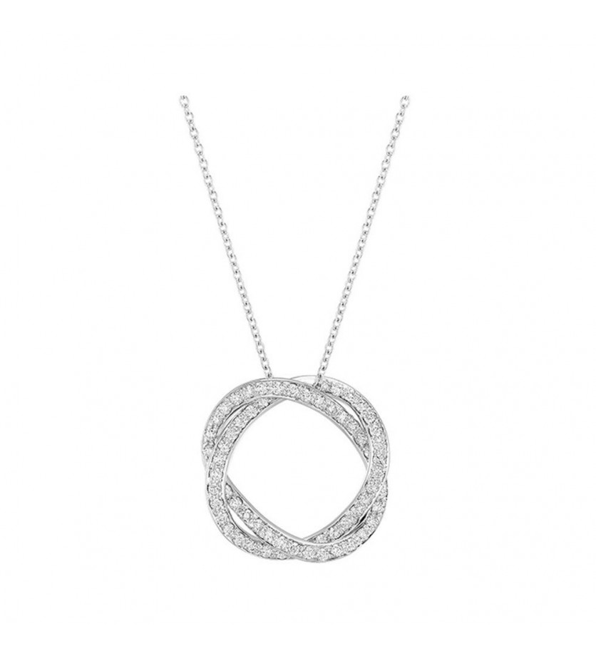 POIRAY Collier Tresse PM or blanc diamants chaine or blanc