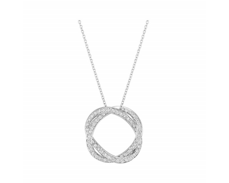 Collier Tresse PM or blanc diamants chaine or blanc