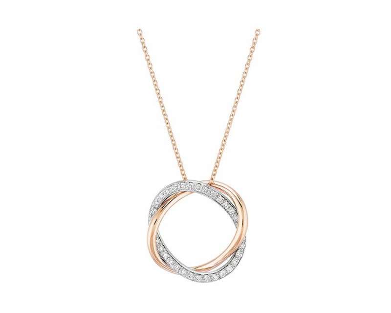 Collier Tresse PM or blanc diamants blancs or rose