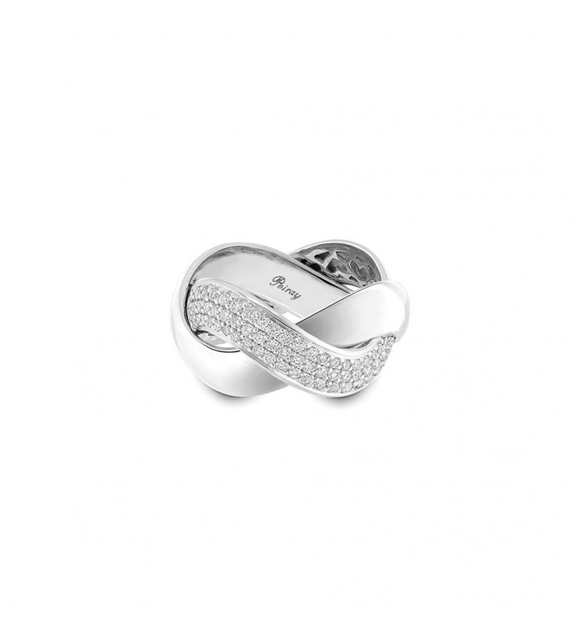Bague Tresse GM or blanc diamants