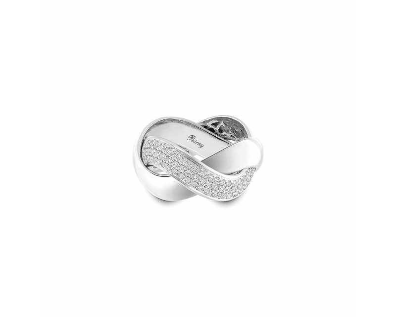 POIRAY Bague Tresse GM or blanc diamants