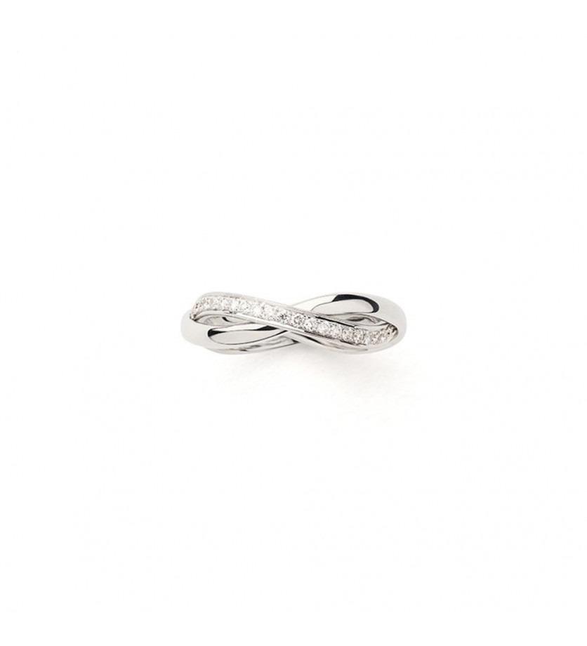 Bague Tresse PM or blanc et diamants
