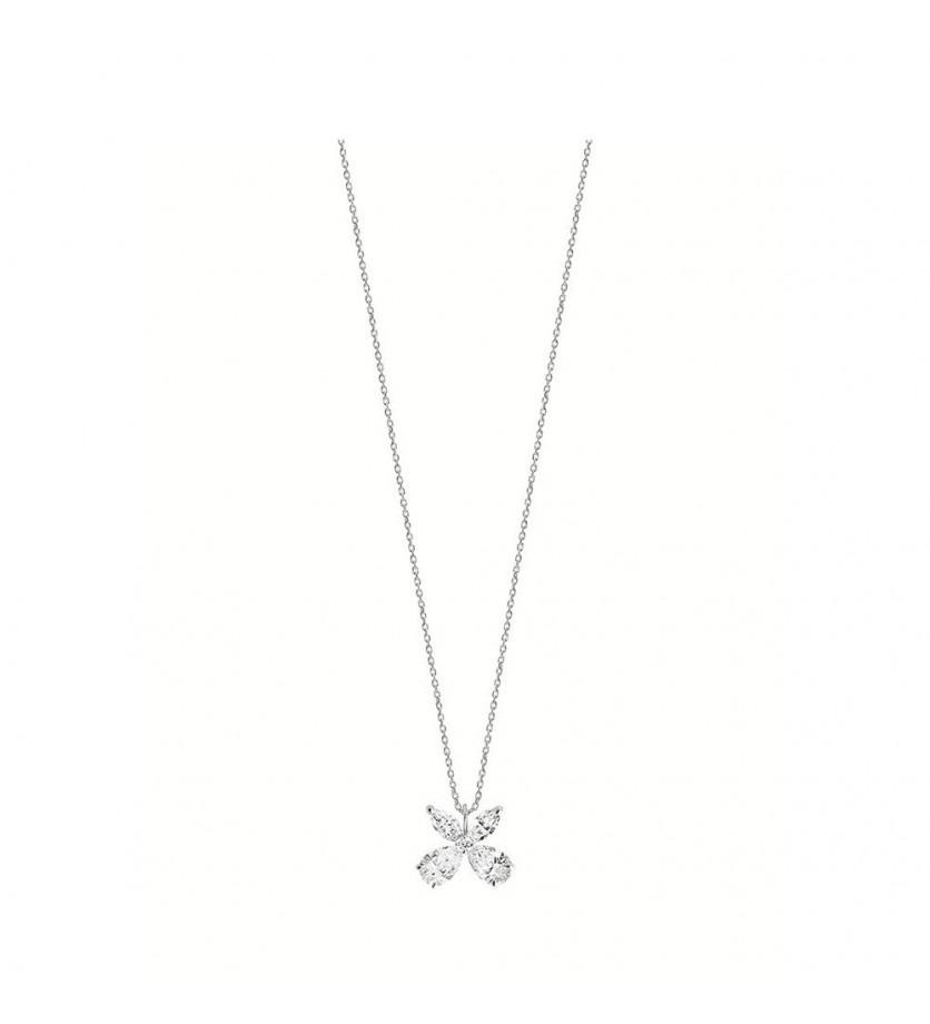 Pendentif or gris 4 diamants 1ct GVS