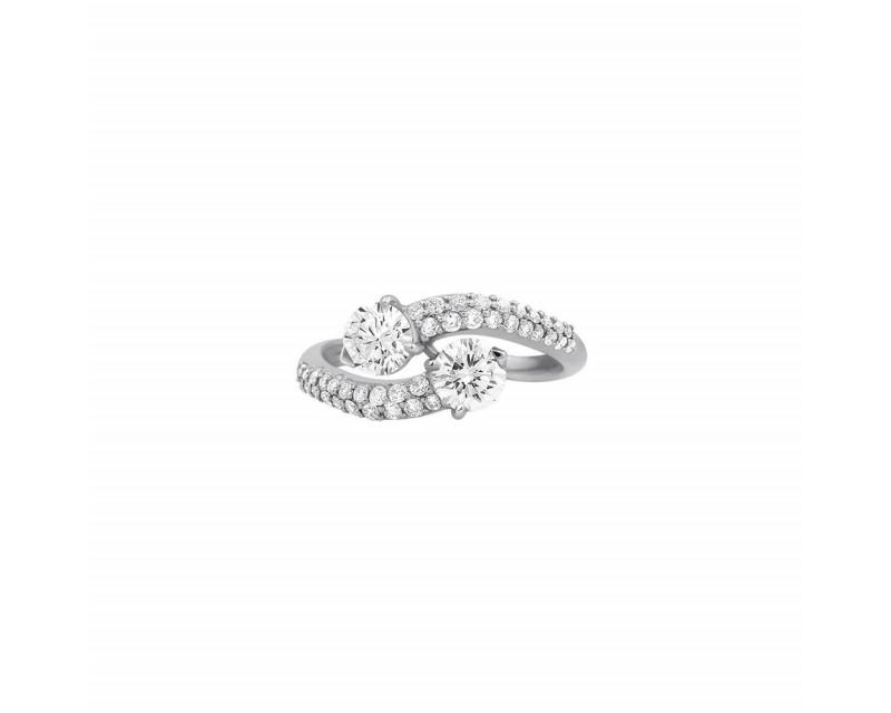 FROJO Bague Toi & Moi or gris 2 diamants de 0.47 chaque et diamant 0.60ct sur monture