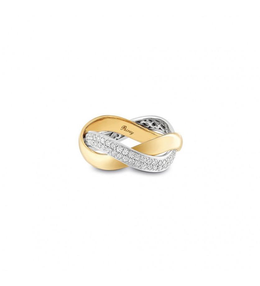 Bague Tresse MM or blanc diamants or jaune
