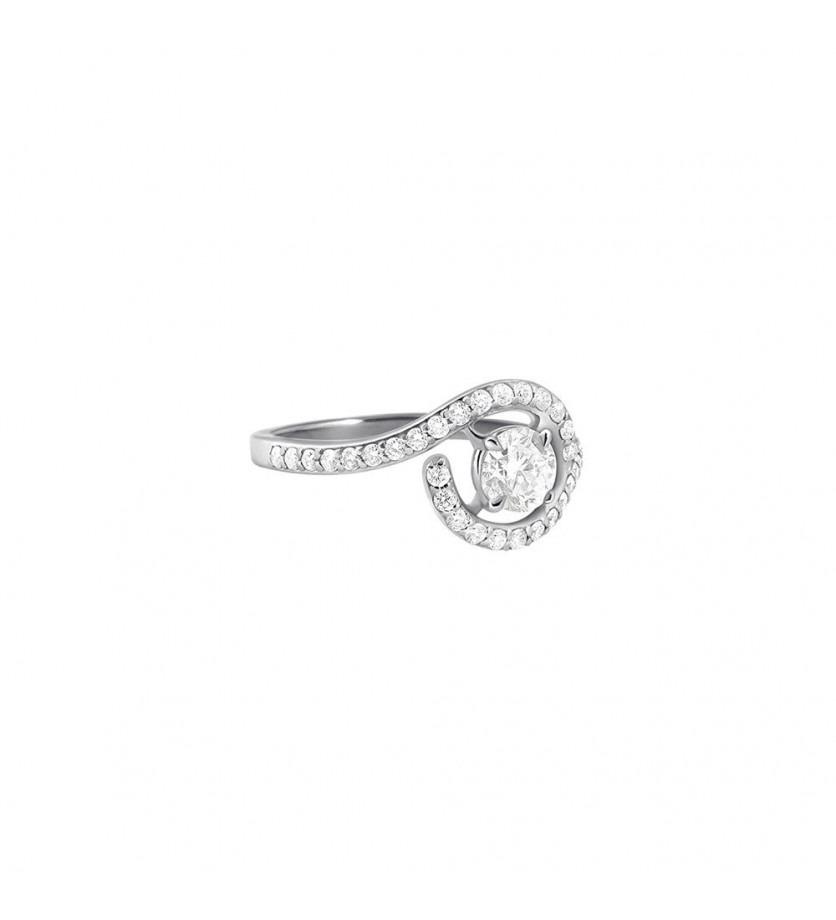 FROJO Bague or gris centre diamant 0,50ct entourage 0,40 GSI