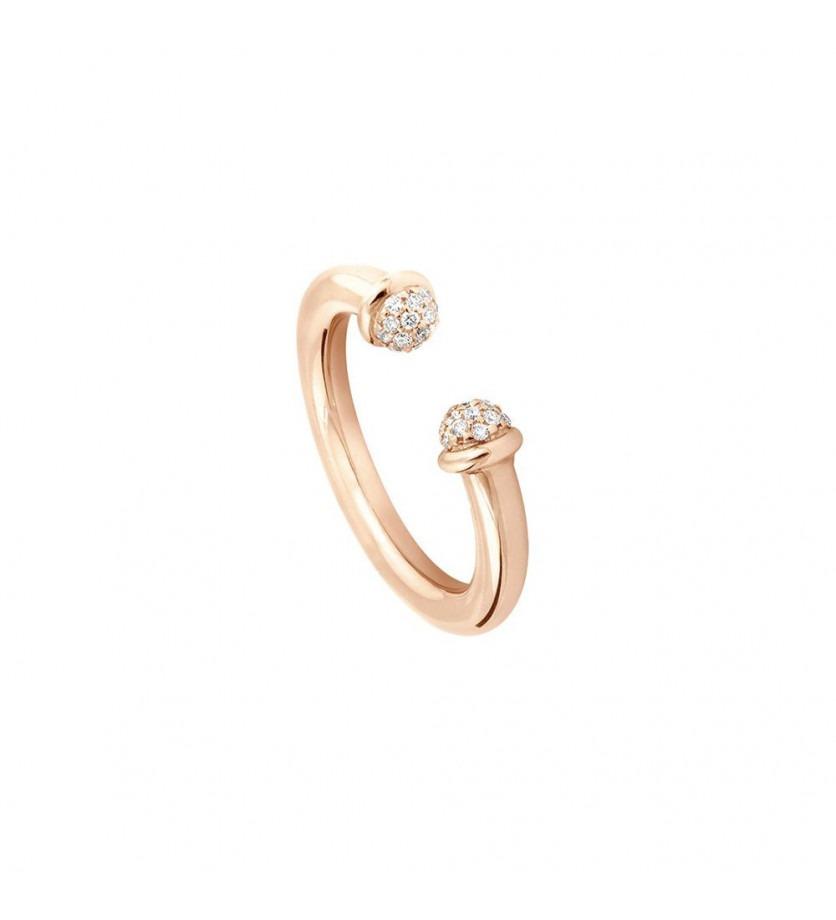 Bague Petit Pavé 3mm or rose diamants