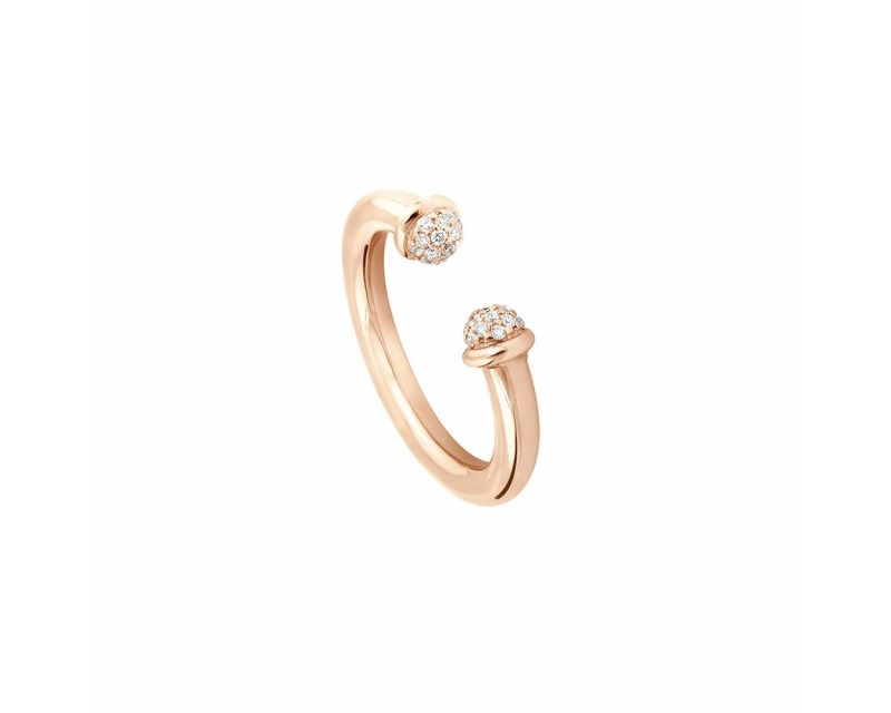 FROJO Bague Petit Pavé 3mm or rose diamants