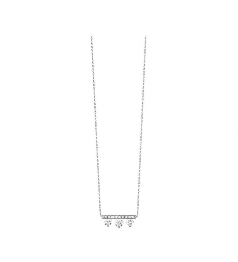 Pendentif or gris 3 diamants barette pavée 0,50ct GSI