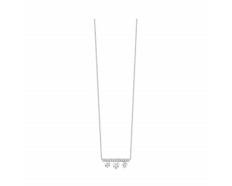 FROJO Pendentif or gris 3 diamants barette pavée 0,50ct GSI
