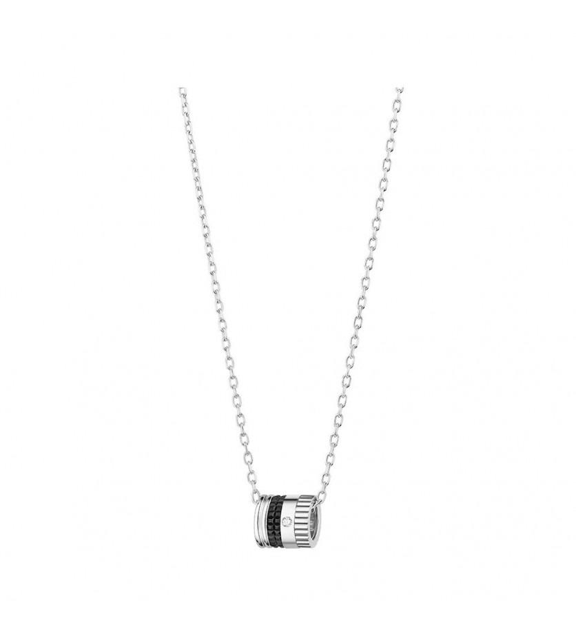 BOUCHERON Pendentif mini Quatre Black Edition or blanc PVD 1 diamant
