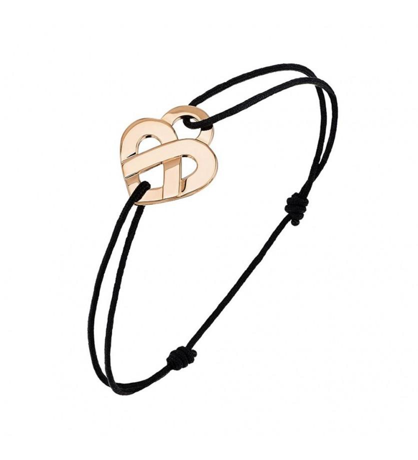 POIRAY Bracelet Coeur Entrelacé PM or rose sur cordon