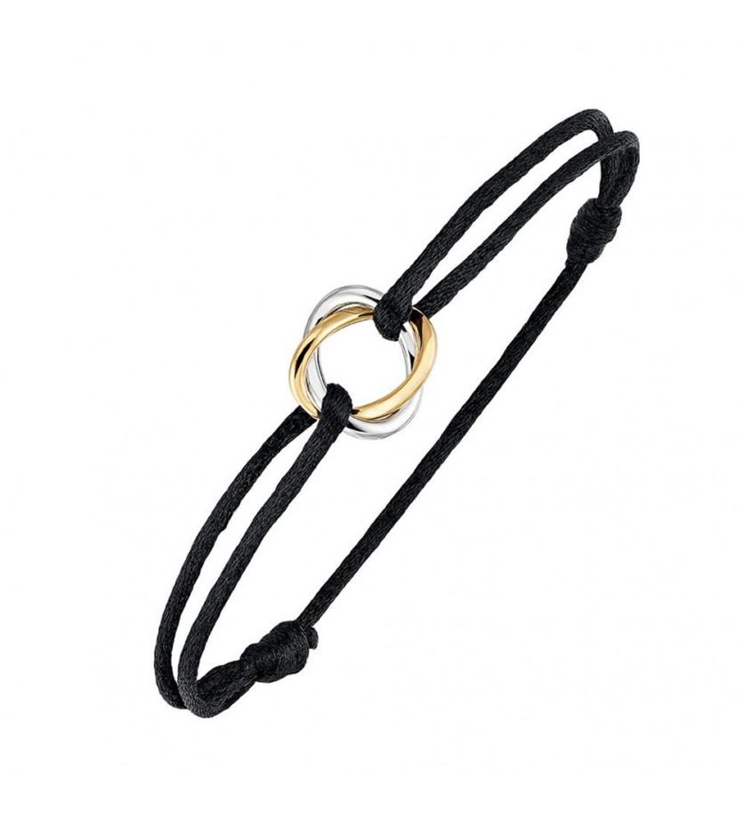 POIRAY Bracelet Tresse or blanc or jaune sur cordon